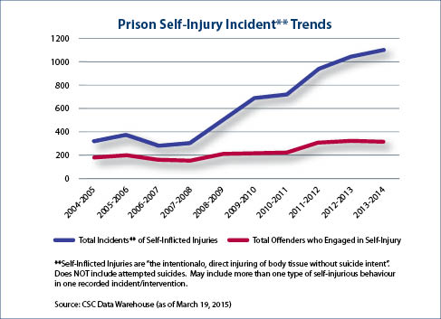 Prison Self-Injury Incident Trends  Description follows.