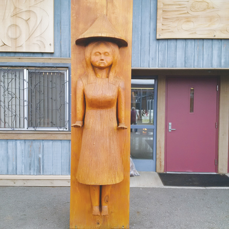 Close-up photo of wood carving at Pacific Institution.