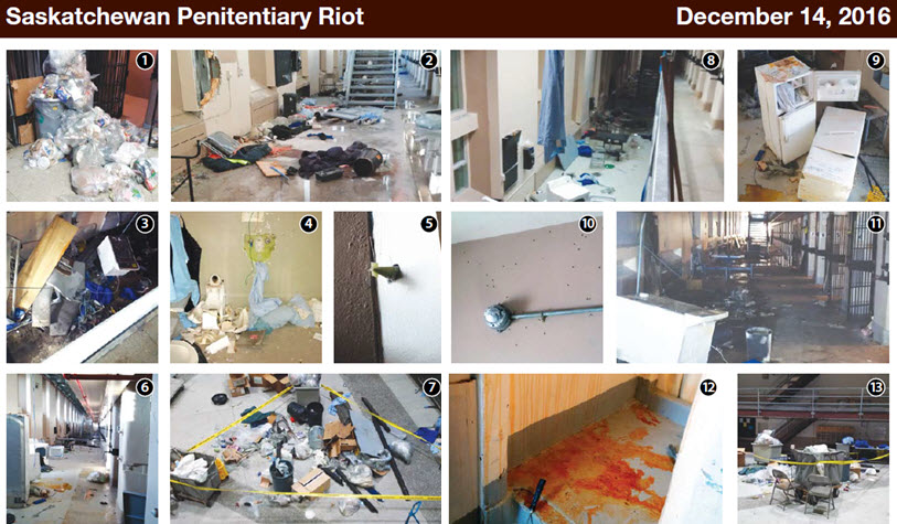 Two page folio showing aftermath of the Saskatchewan Penitentiary riot on December 14, 2016: 1.Clean up underway. 2.Debris after riot 3.Cell effects destroyed during riot. 4.Damaged cell. 5.Unexploded OC spray (pepper spray) munition. 6.Damage and debris from riot. 7.Debris in hallway after riot.  8.Debris in range after riot.  9.Damaged refrigerators in common area. 10.Damage to walls from shotgun pellets and painted camera.  11.Range view after riot 12.Residue from OC spray (pepper spray) used by correctional officers. 13.Clean up of debris from riot.