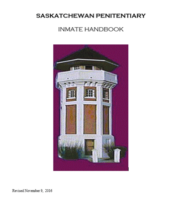 Photo of Saskatchewan Pentitentiary Inmate Handbook cover