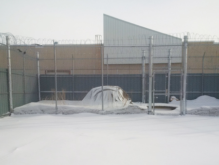 Photo of a Sweat lodge in a maximum security yard