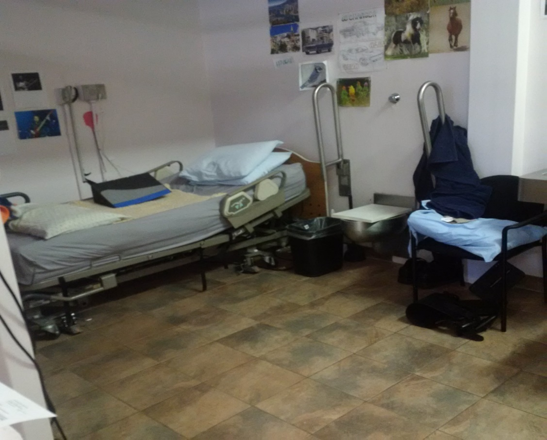 A picture of a hospital bed beside a toilet with accessible handles in a prison infirmary.