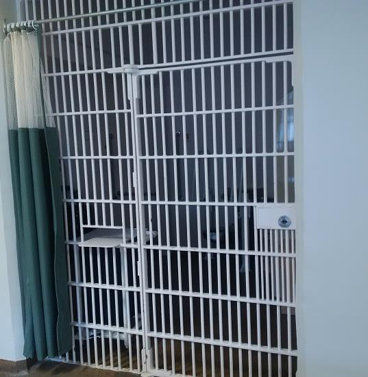 A picture of a cell in prison infirmary.