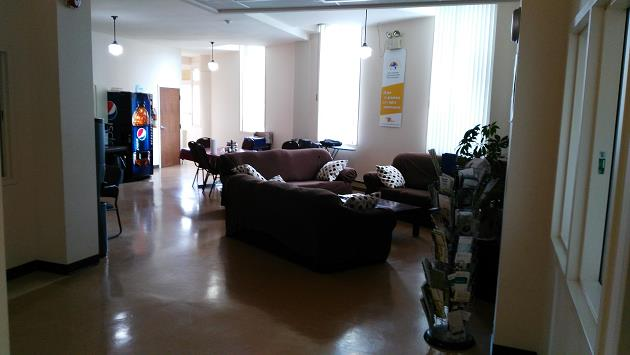 A picture of the common room at Maison Cross Roads (community based residential facility in Montreal, Quebec).