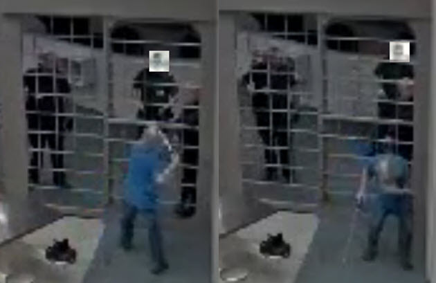 Two pictures depicting an older offender using his cane to attempt to hit guards through the barrier and the second picture depicts the guards pepper spraying the inmate through the barrier.
