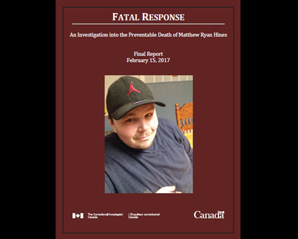 Special Report to Parliament – Fatal Response: An Investigation into the Preventable Death of Matthew Ryan Hines - Final Report cover